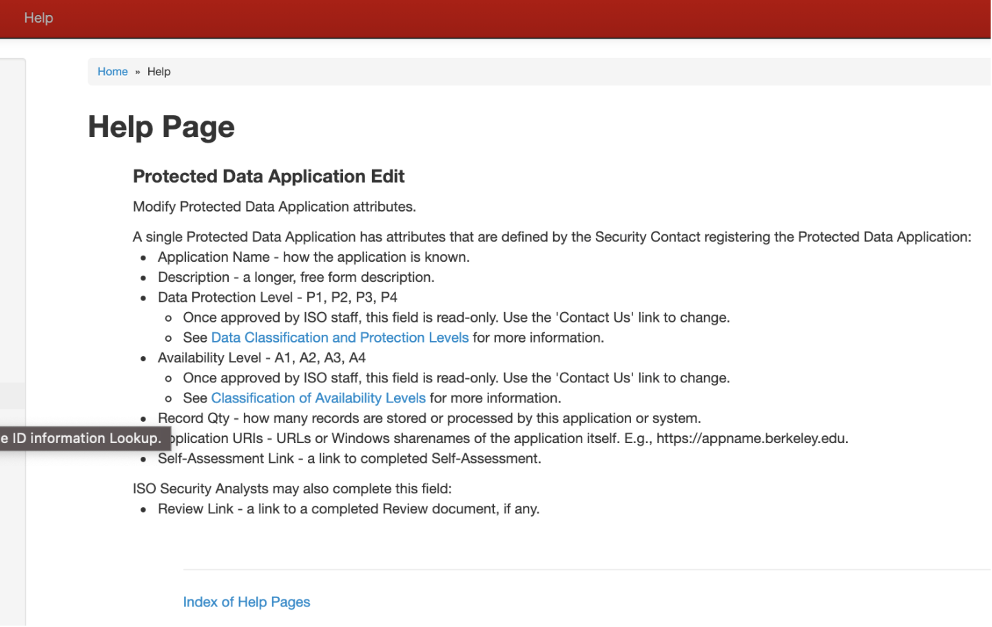 Protected Data Application Edit Help Page