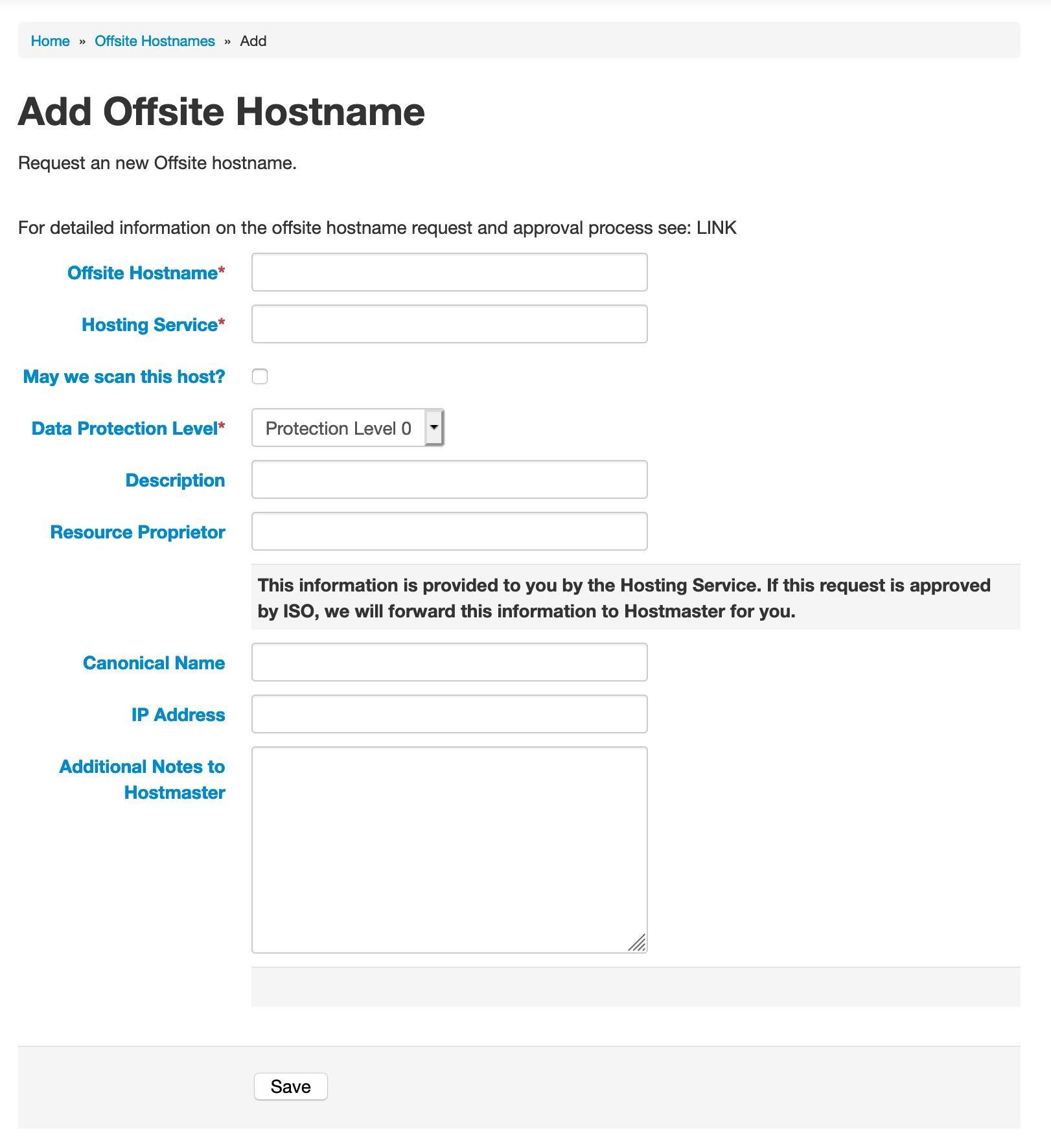 Add Offsite Hostname form