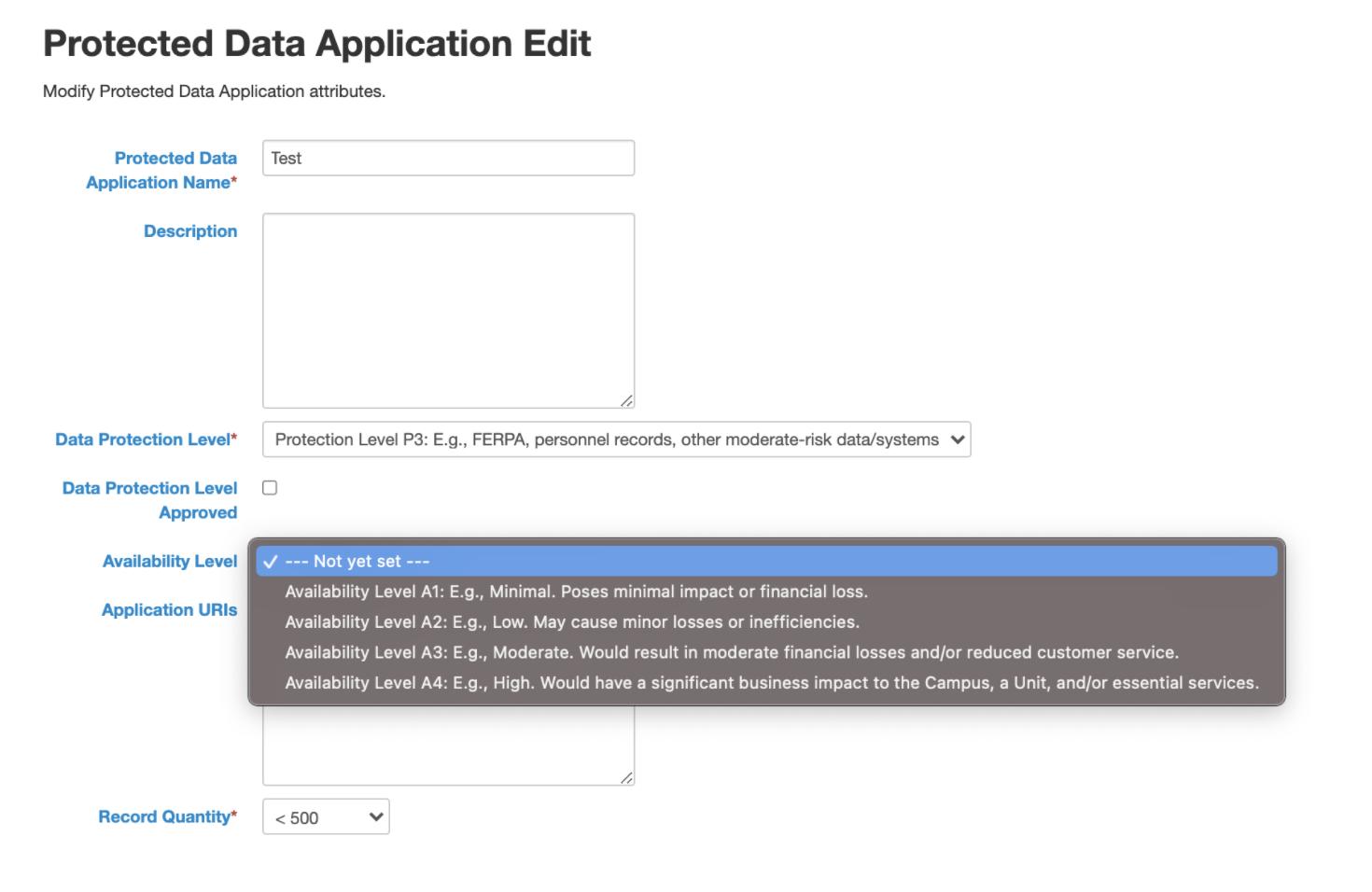 Protected Data Application Edit