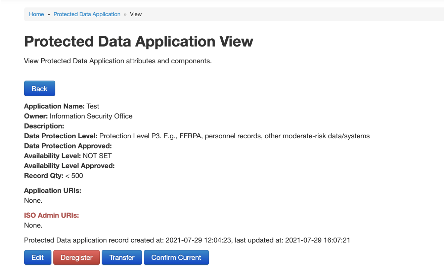 Protected Data Application View