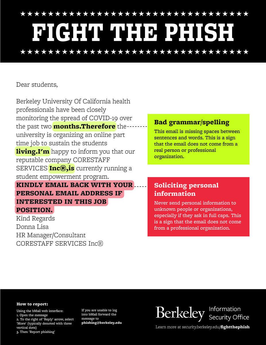 covid-19 job offer phishing email poster