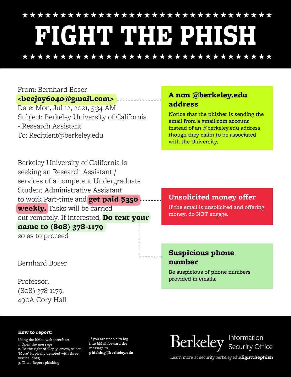 research assistant phishing email poster