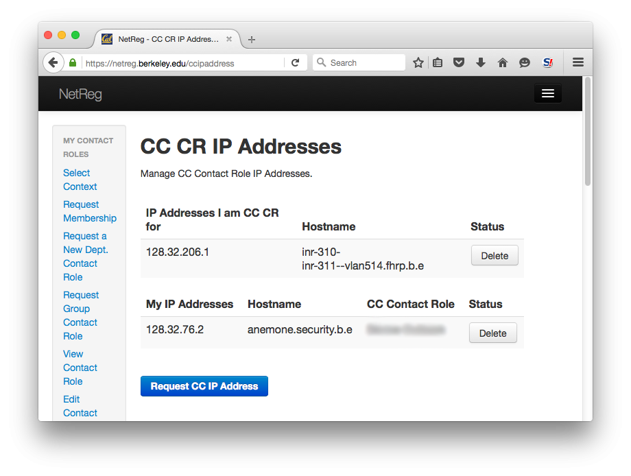 CC CR IP Adresses.  Manage CC Contact Role IP Addresses.