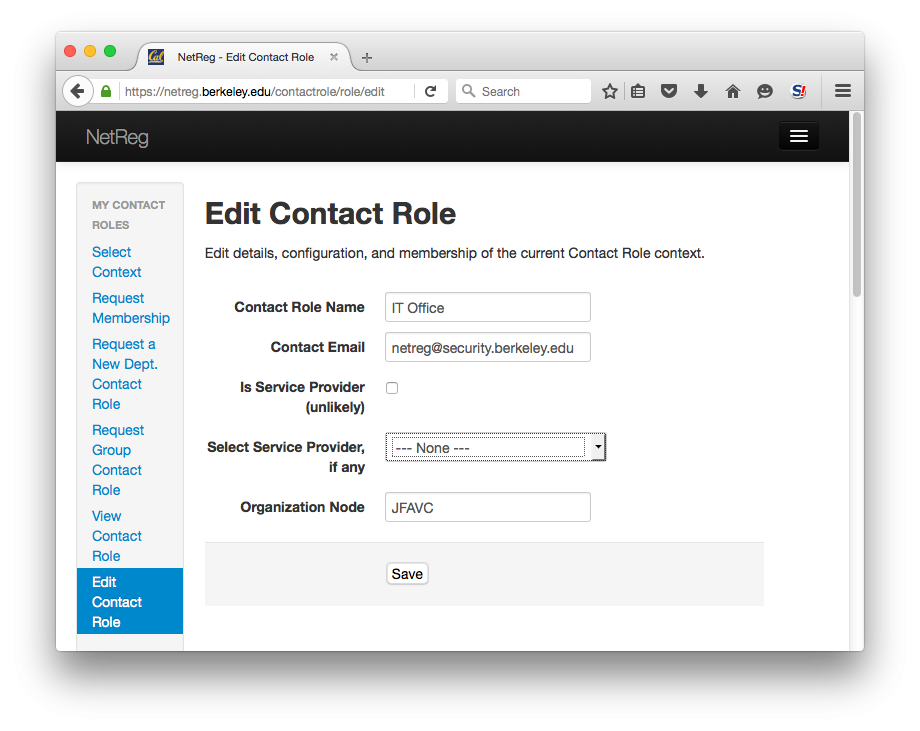 Edit Contact Role.  Edit details, configuration, and membership of the current Contact Role context.