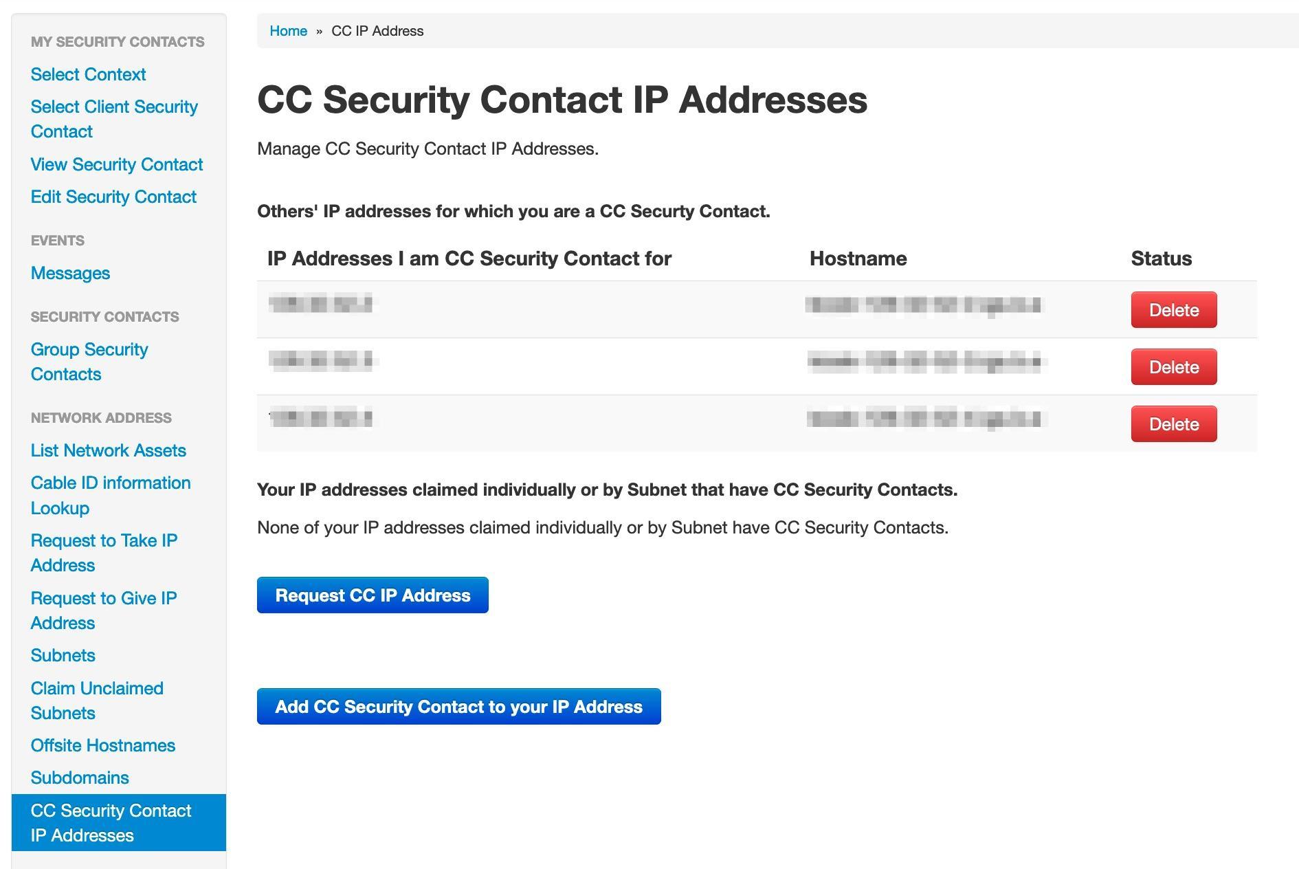 CC Security Contact IP Addresses