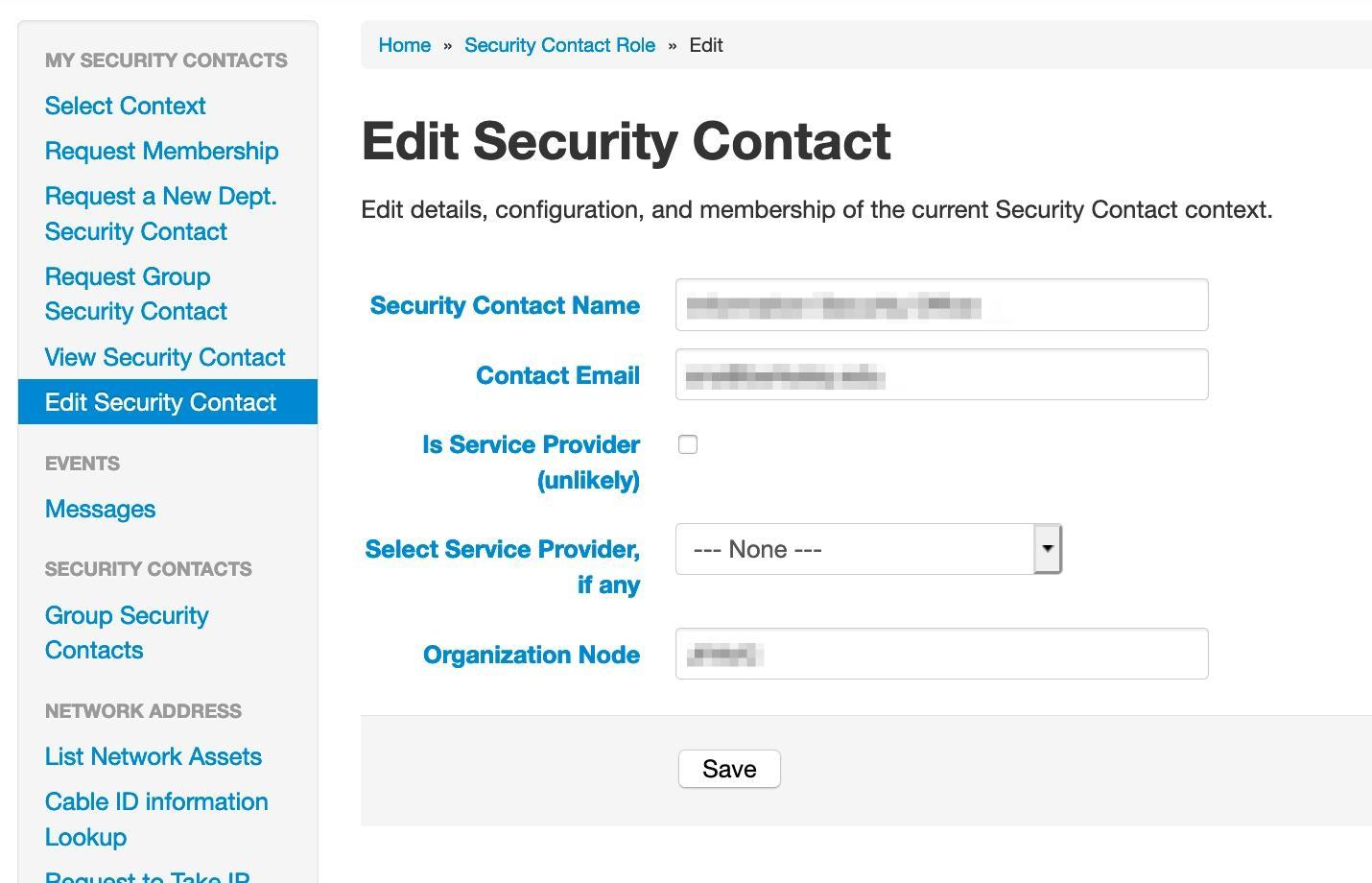 Edit Security Contact