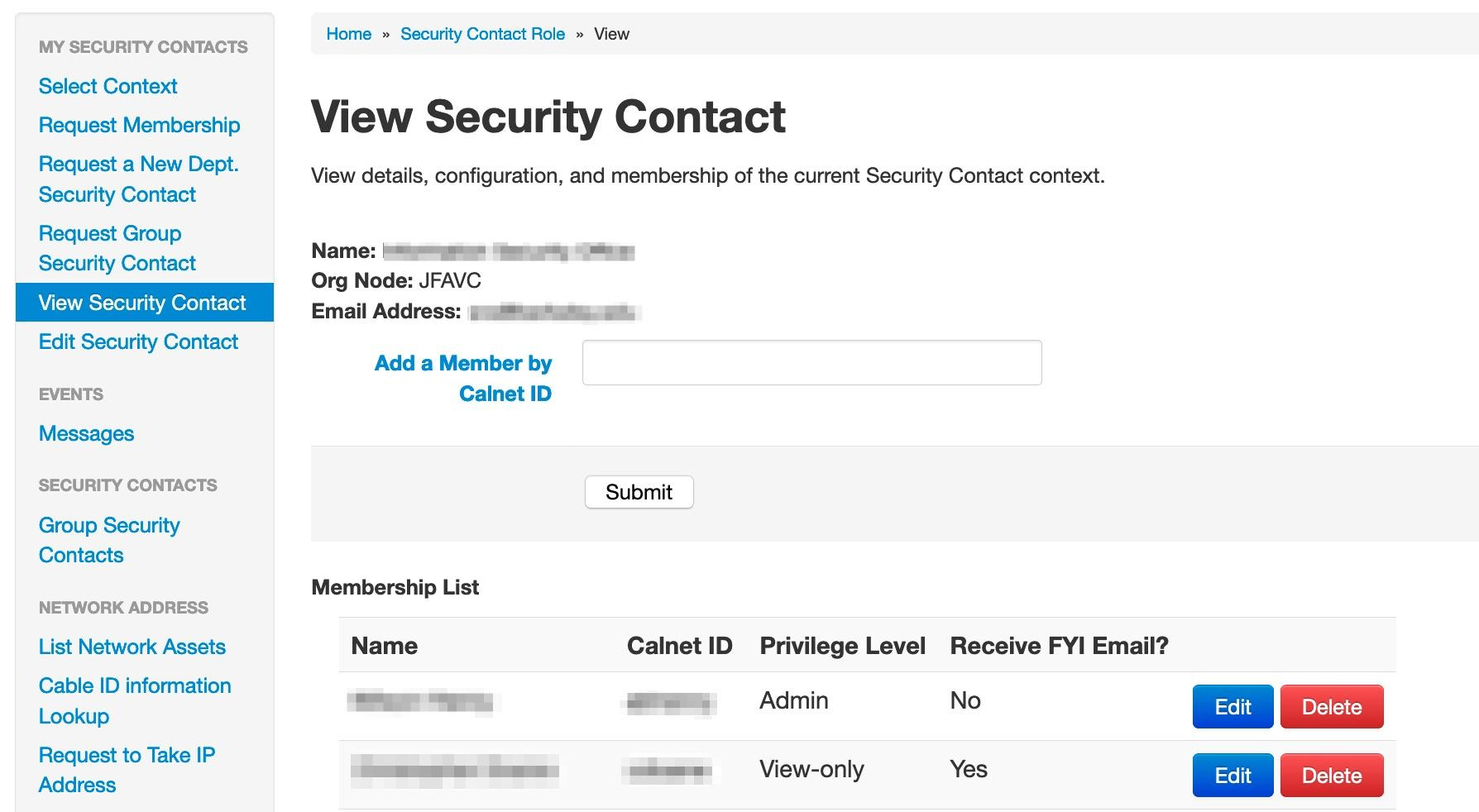 View Security Contact