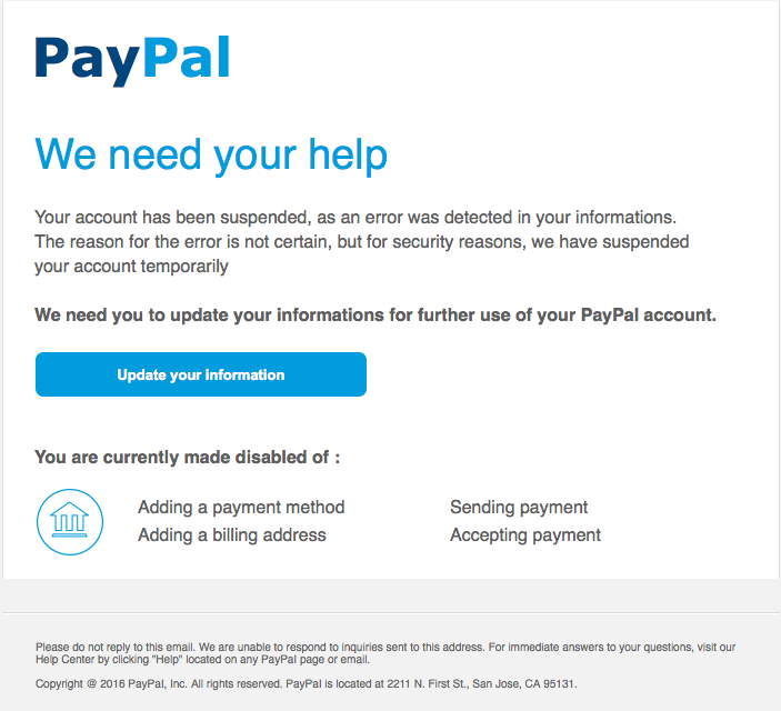 Phishing Example: PayPal - We need your help | Information
