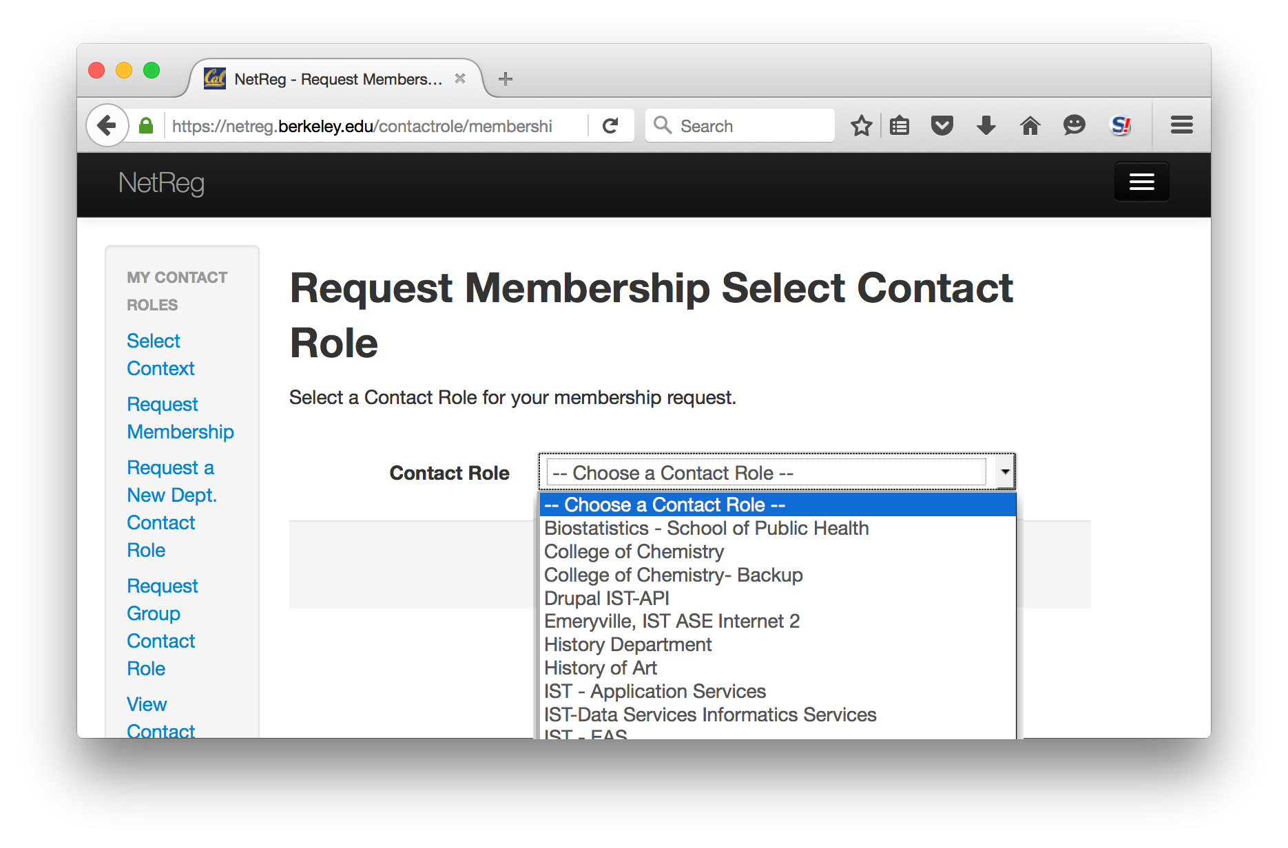Request Membership Select Contact Role.  Select a Contact Role for your membership request.