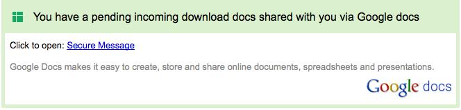 Google Docs phish example