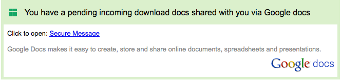 Google Docs phish example