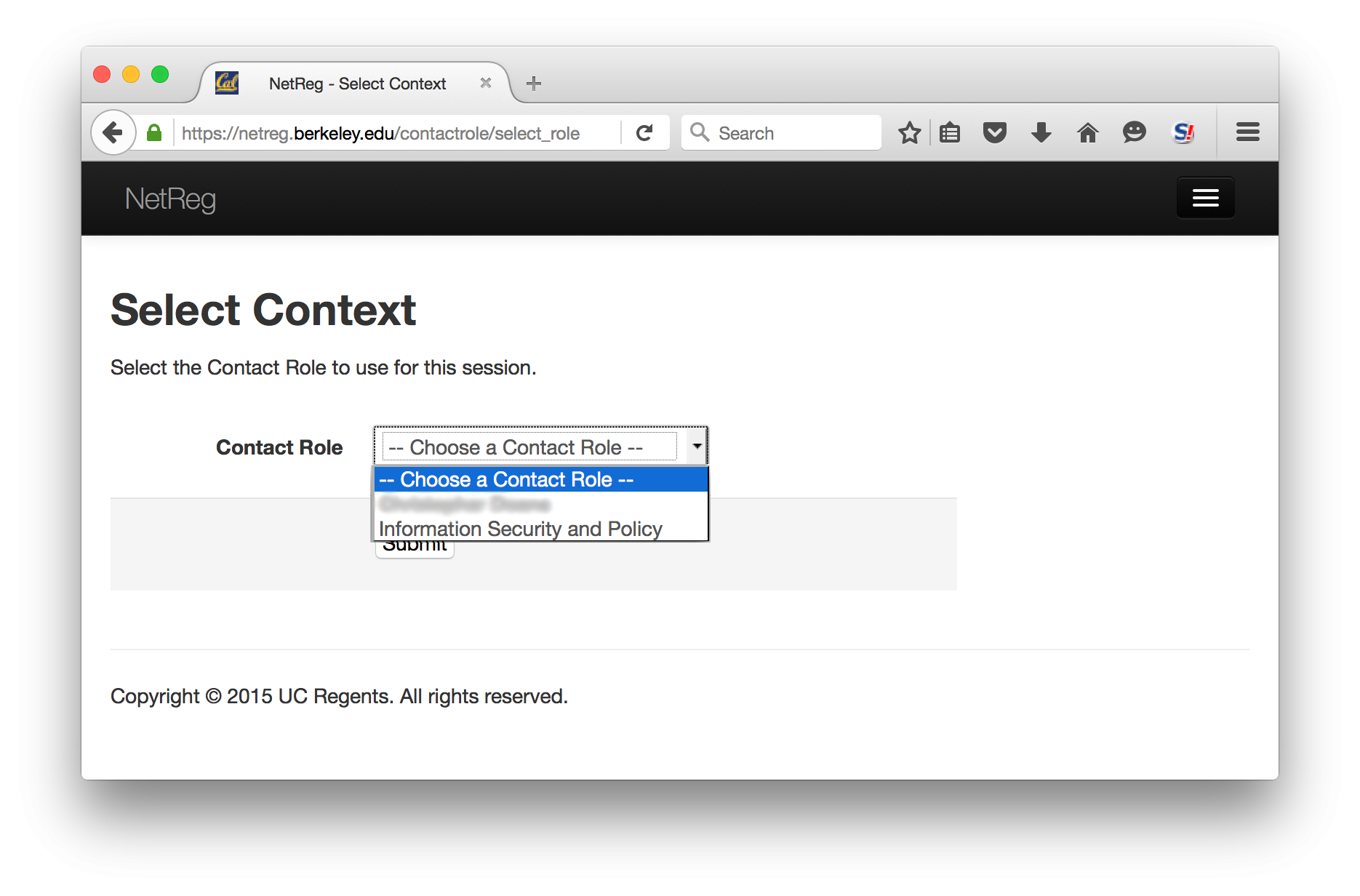 Select context.  Select the Contact Role to use for this session.