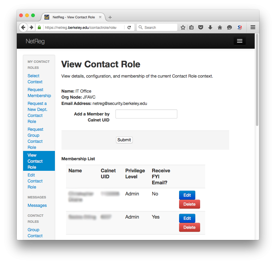 View Contact Role.  View details, configuration, and membership of the current Contact Role context.