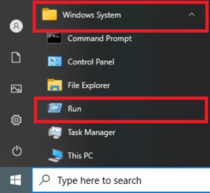 Windows System Run