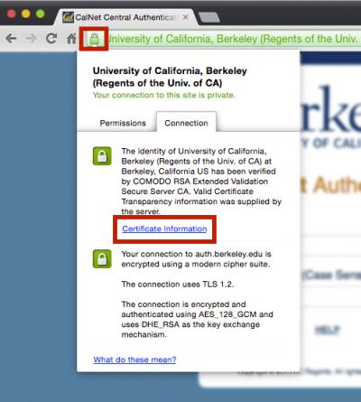 CalNet login screen - view certificate